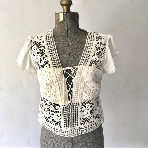 Tops - Boho Beauty Crochet Lace Lace up Crop Top Sheer